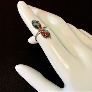Vtg Dainty Sterling Silver Coral & Turquoise Ring